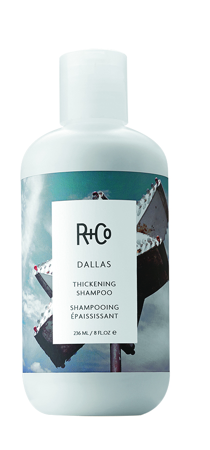 R+Co  Dallas Thickening Shampoo makes it easy to get Texas-sized hair. A proprietary polymer complex creates body and volume while reducing static.