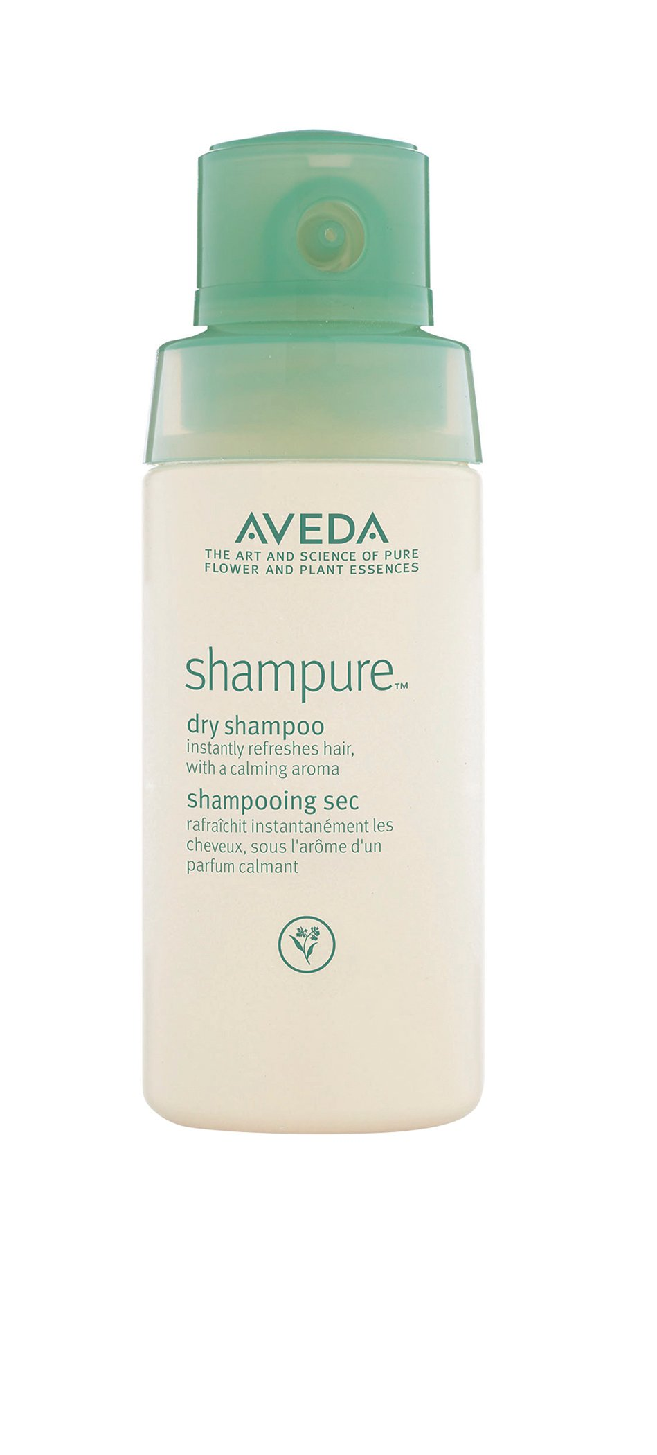 Aveda  Shampure Dry Shampoo is a non-aerosol powder mist that absorbs excess oils and lifts impurities away from the hair. It is a 99.8 percent naturally derived formula.
