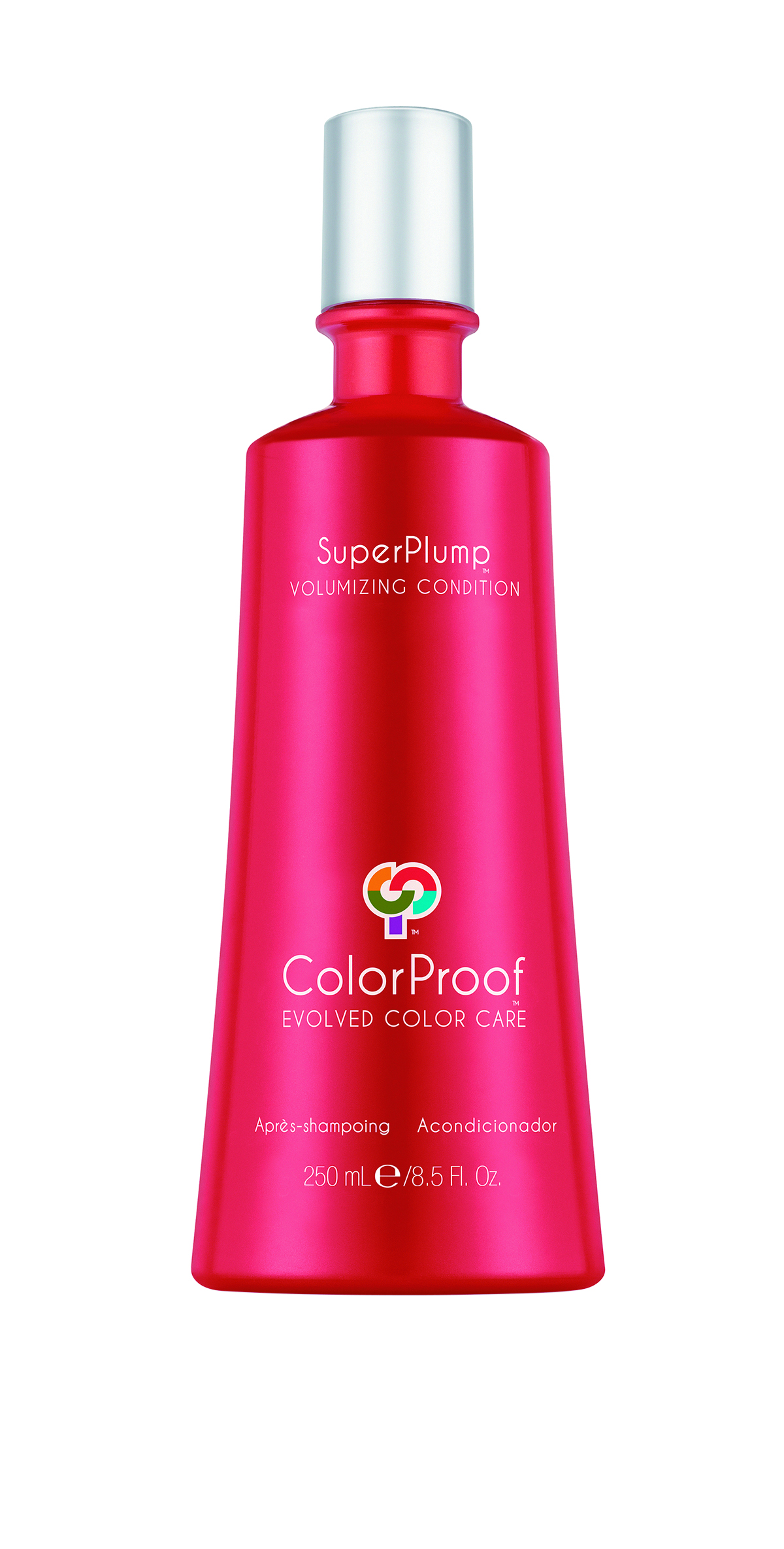 ColorProof Super Plump Volumizing Condition provides feather-light volume and conditioning, while prolonging color life and vibrancy.
