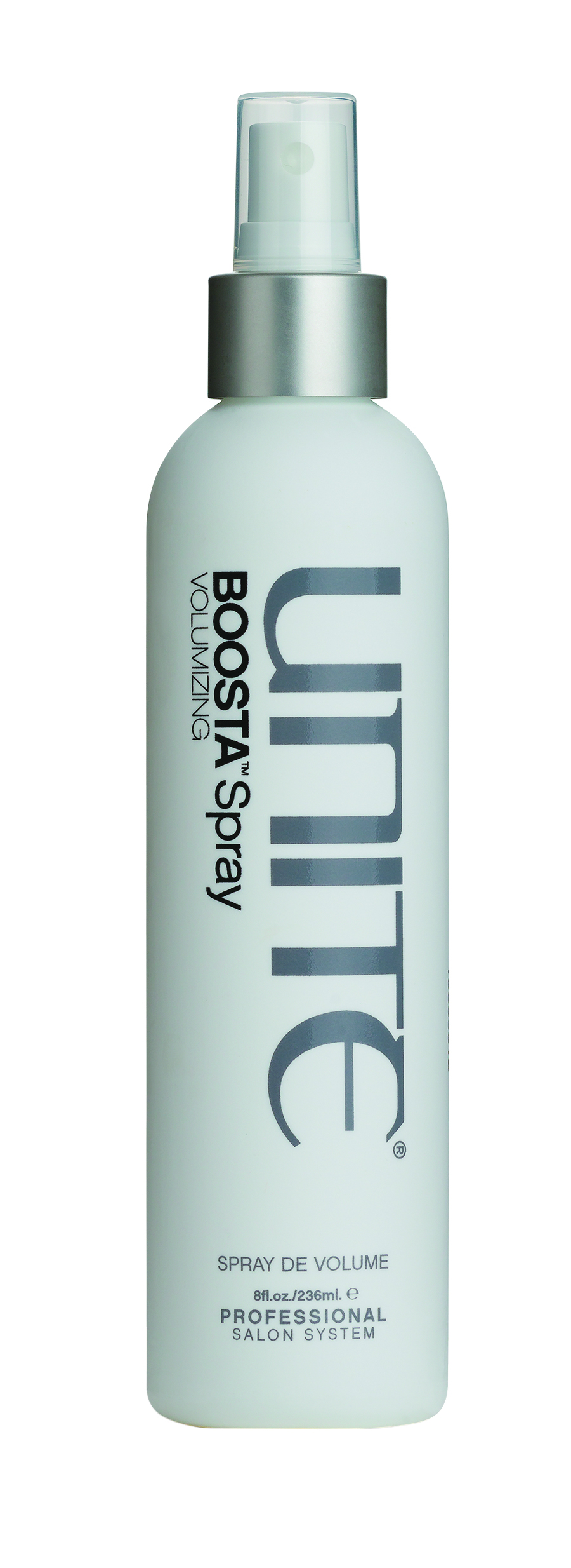 Unite  Boosta Spray enhances texture and shine while building body. The touchable, flexible-hold formula really gives hair a lift.