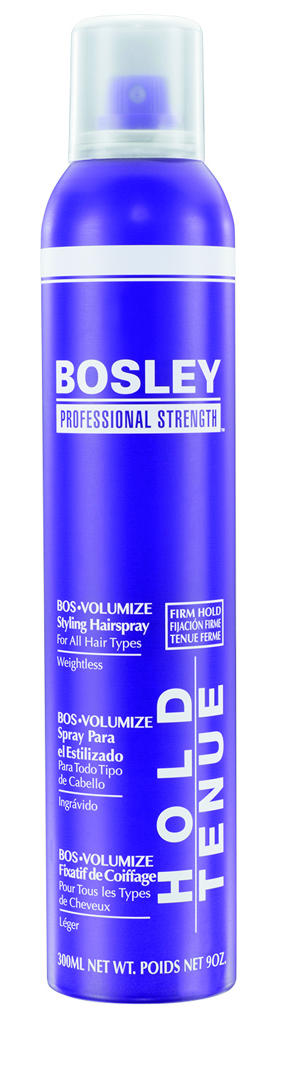 Bosley Professional Strength BosVolmize Styling Spray gives long-lasting body and shine without build-up, stickiness or flaking.