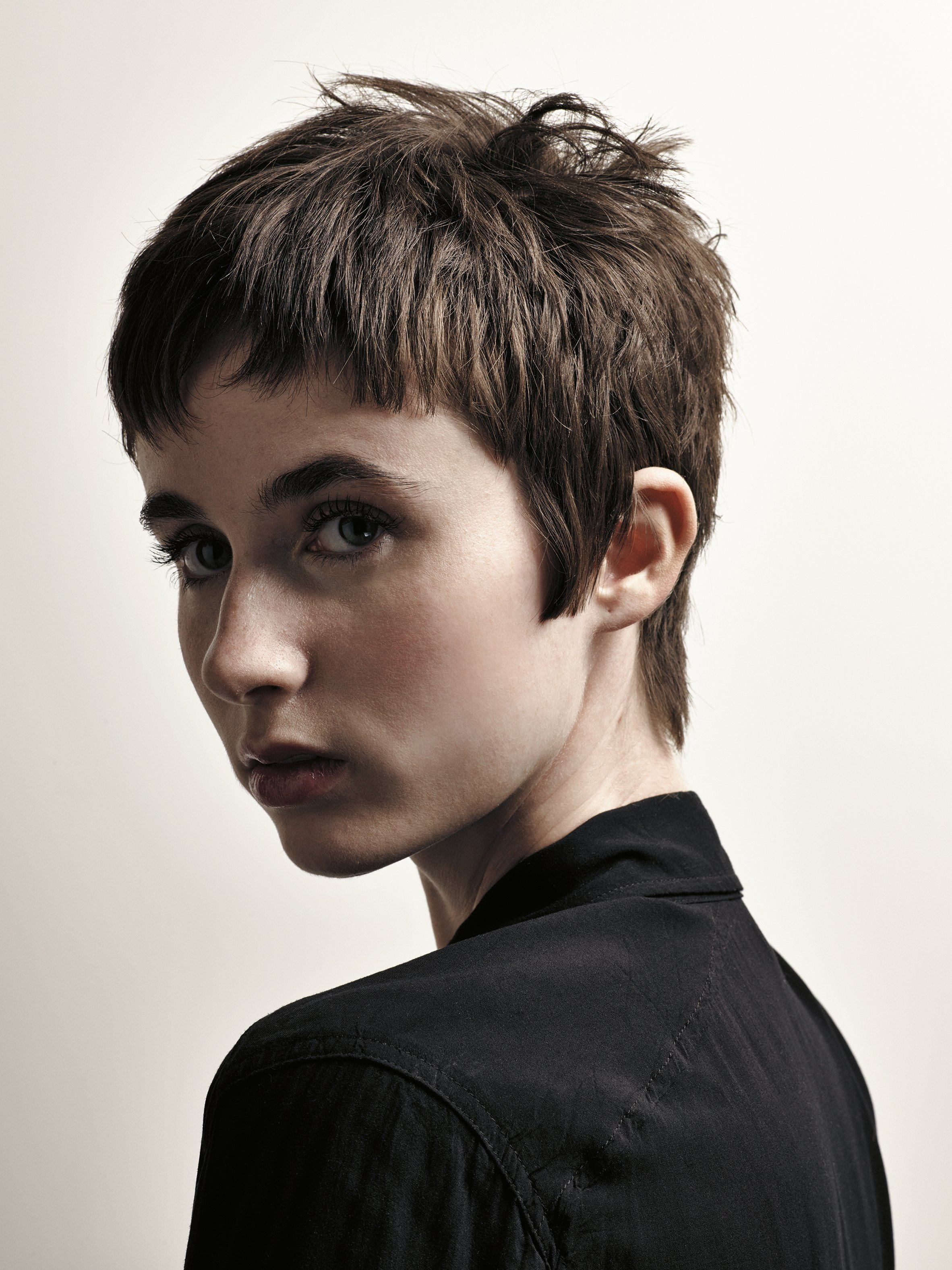 """This is my version of Jean Seberg's famous Breathless cut, which I included in my book, Hair Fashion and Fantasy,"" he says. ""Very short fringes and sideburns frame her face, giving more attention to her beautiful eyes. The rest is textured gently with the razor. Special attention is brought to the bangs; long-to-short pieces are created to look 'undone' instantly."""