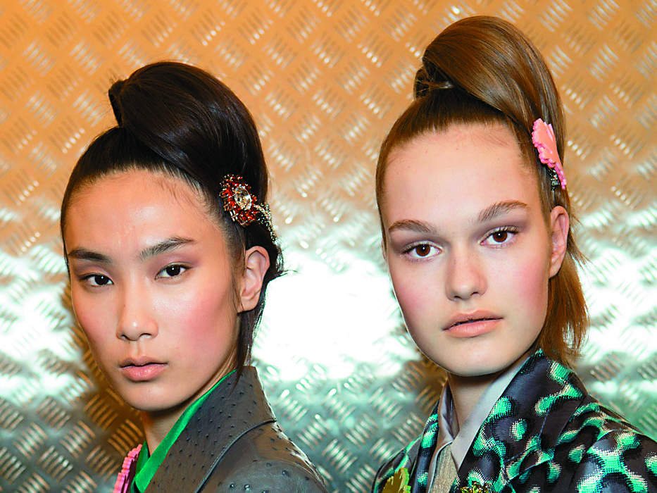 Models sported a quirky-chic version of a classic ponytail at the Prada show in Milan.