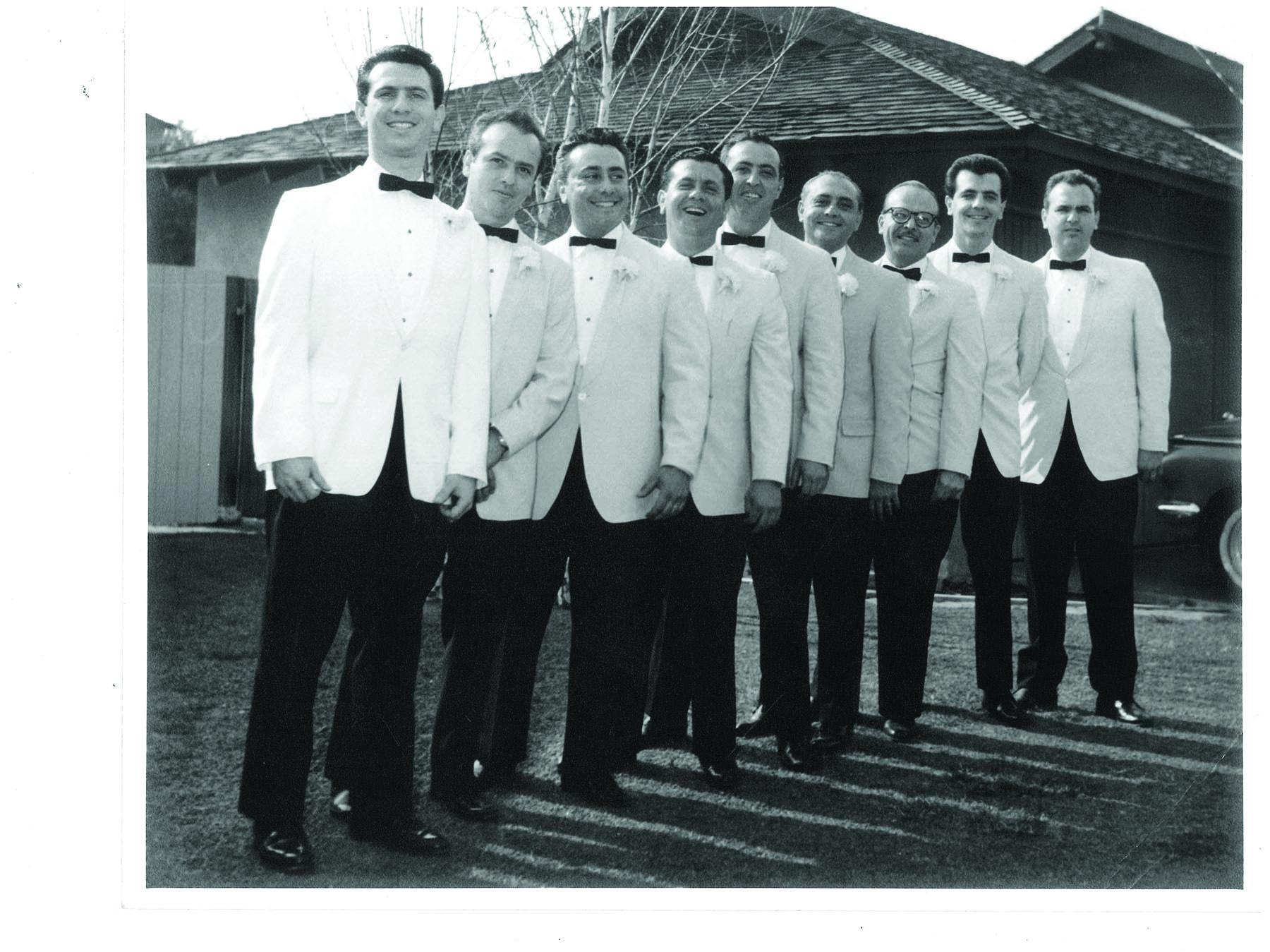 The Venti brothers at John's wedding in 1964, from left: John, Sammy, Joe, Eddie, Willy, Luigi, Victor, Frankie and Tony
