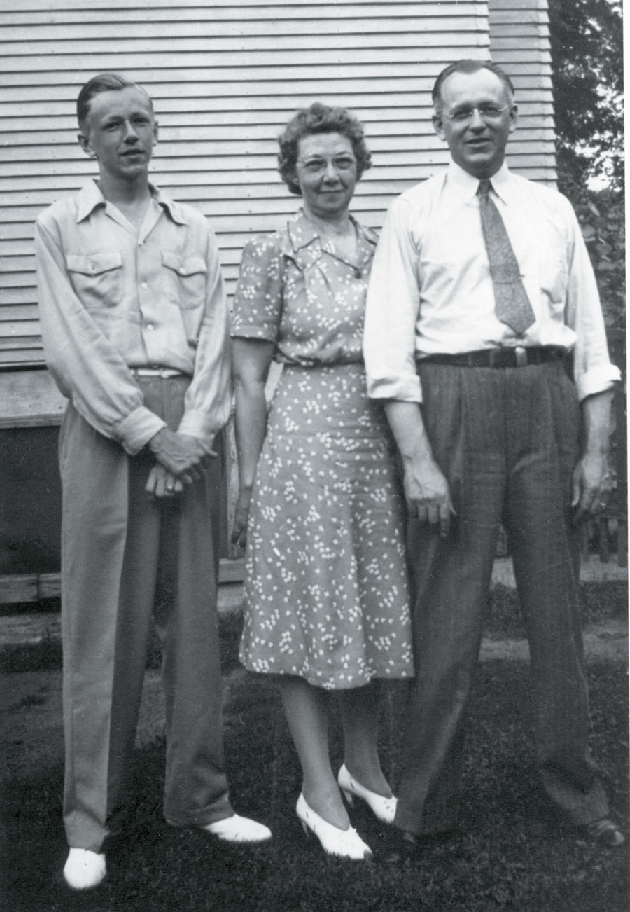 Charles M. Schulz with his parents, Dena and Carl