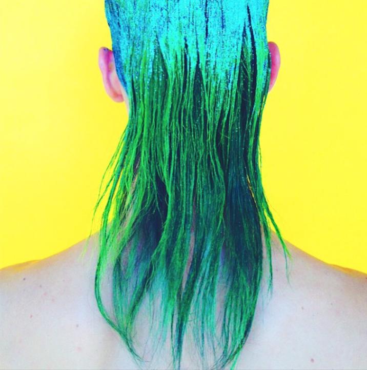 Inspired by eye-catching neon and glam rock greatness, I painted model Nate Hill's long locks and snapped a photo in front of a beautifully contrasting wall of shocking yellow.
