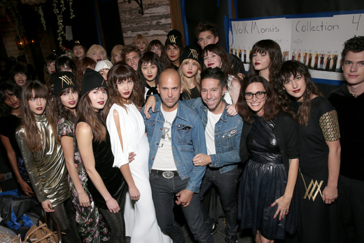 Designers Claude Morais and Brian Wolk pose with stylist Elizabeth Stewart and models from the show.