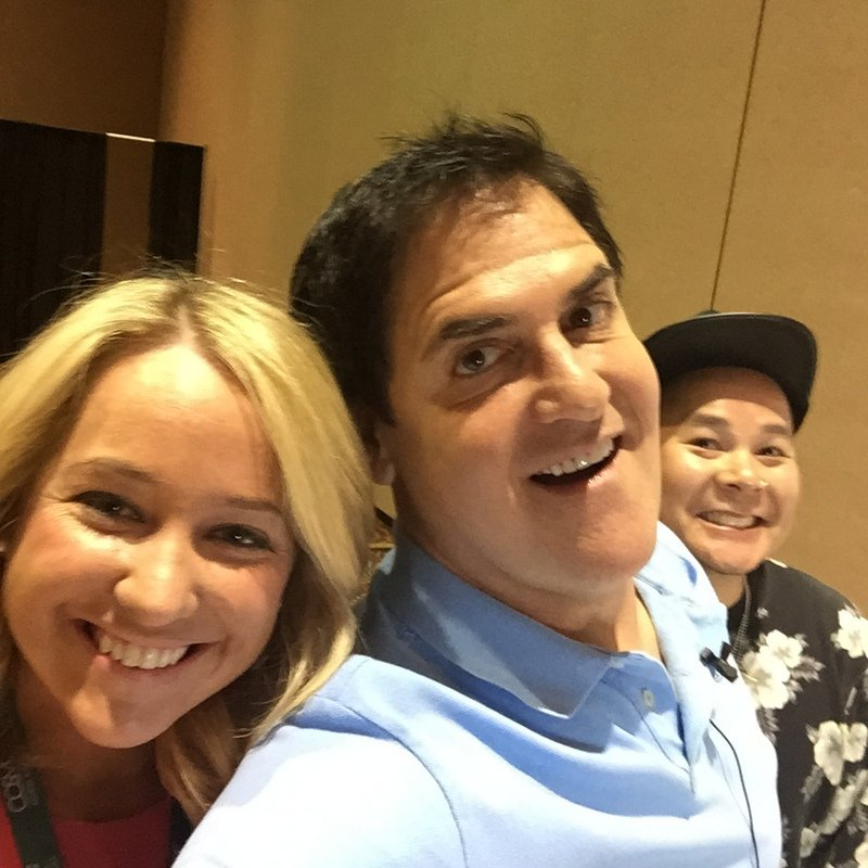 Kelsey Murray and American Salon videographer Pete Nguyen with Businessman Mark Cuban at PBA Beauty Pitch event.