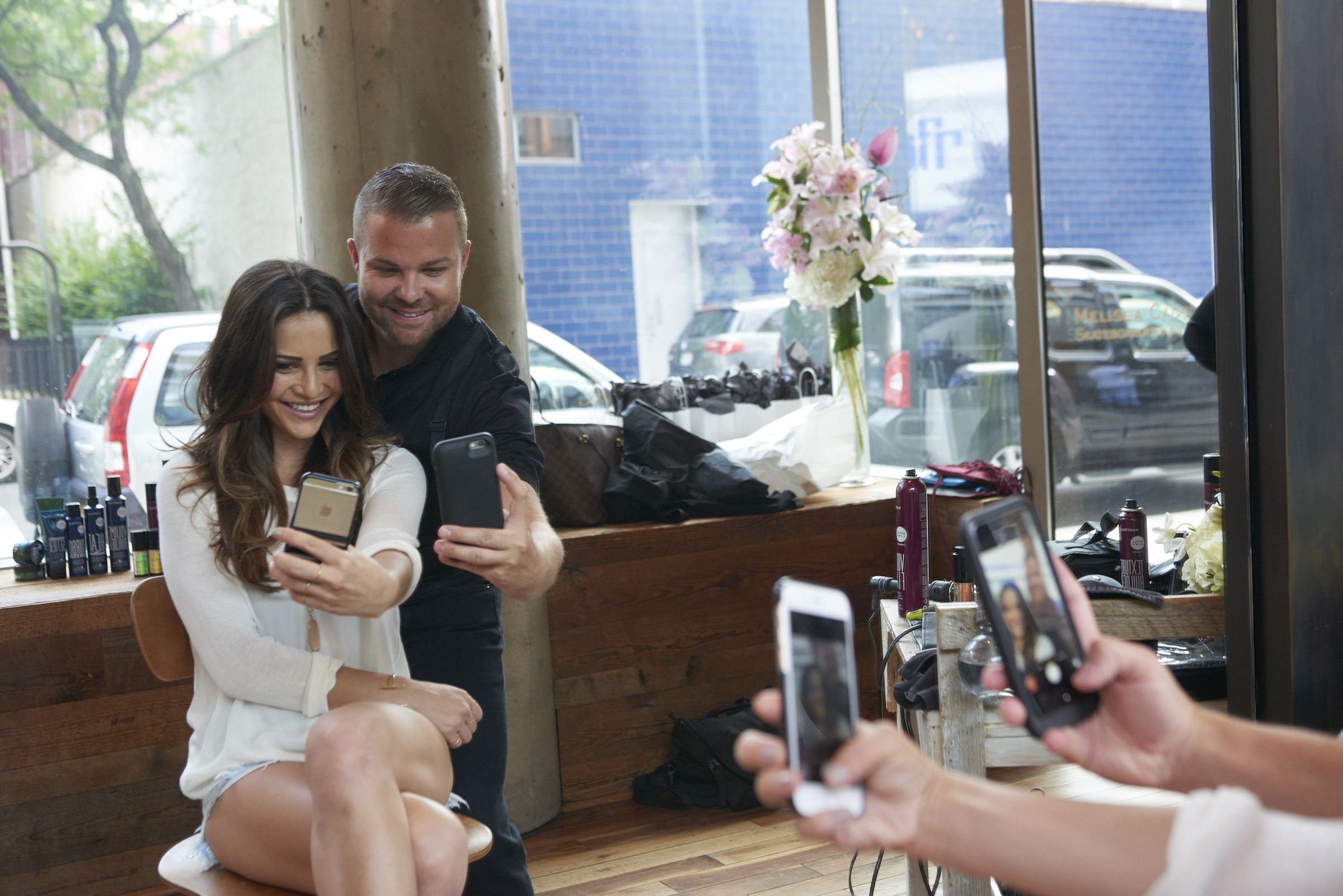 Nick Stenson takes a selfie with Andi Dorfman in New York
