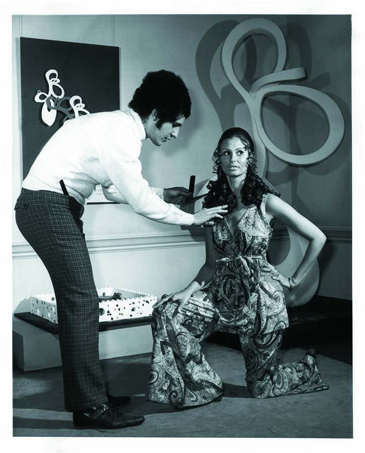 Philip Pelusi with a model wearing Ann Cat of London