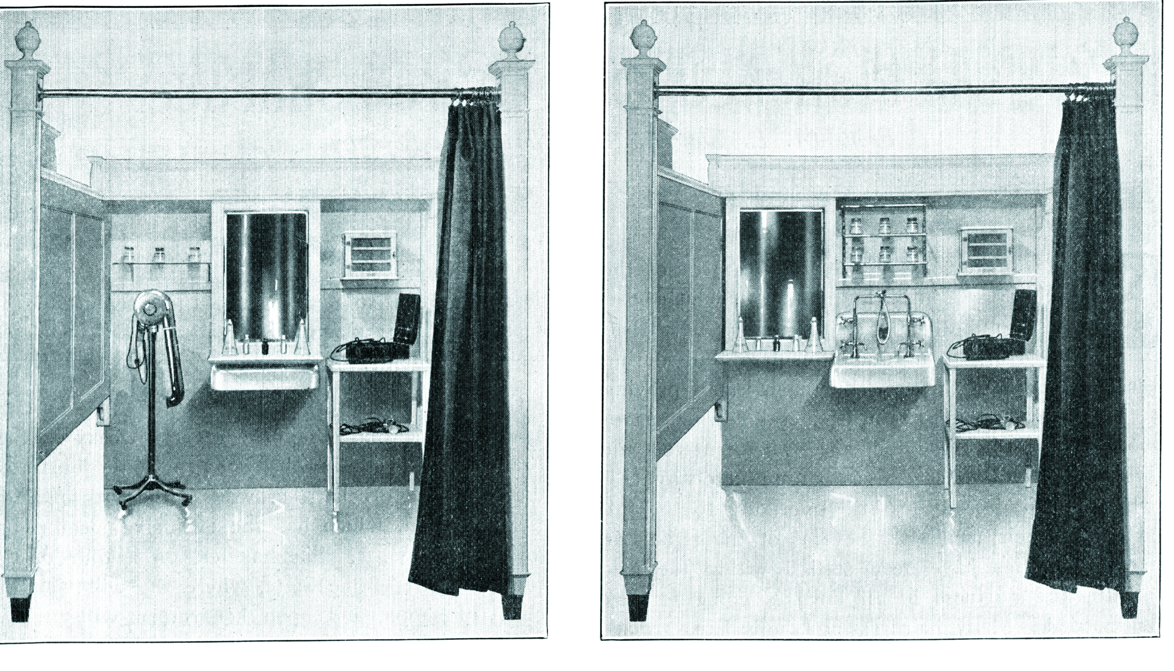 The sliding mirror construction allows the booth to convert from a hairdressing and massage area to a shampoo station.