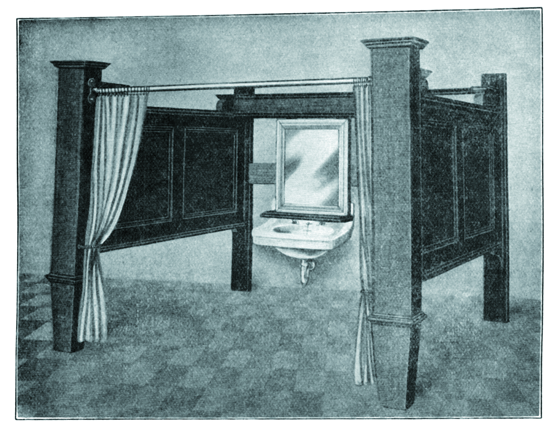From Holland & O'Donnell, this prefab booth with sliding mirror, shelf, lavatory and curtains was available for $160.