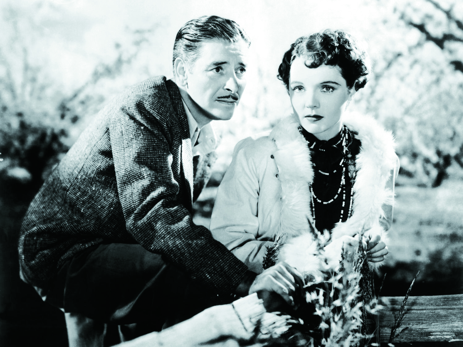 A scene from Lost Horizon featuring actors Jane Wyatt  and Ronald Colman.