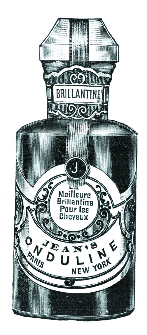 A perfumed preparation, Jean's Brilliantine was applied to the hair to make it soft and glossy.