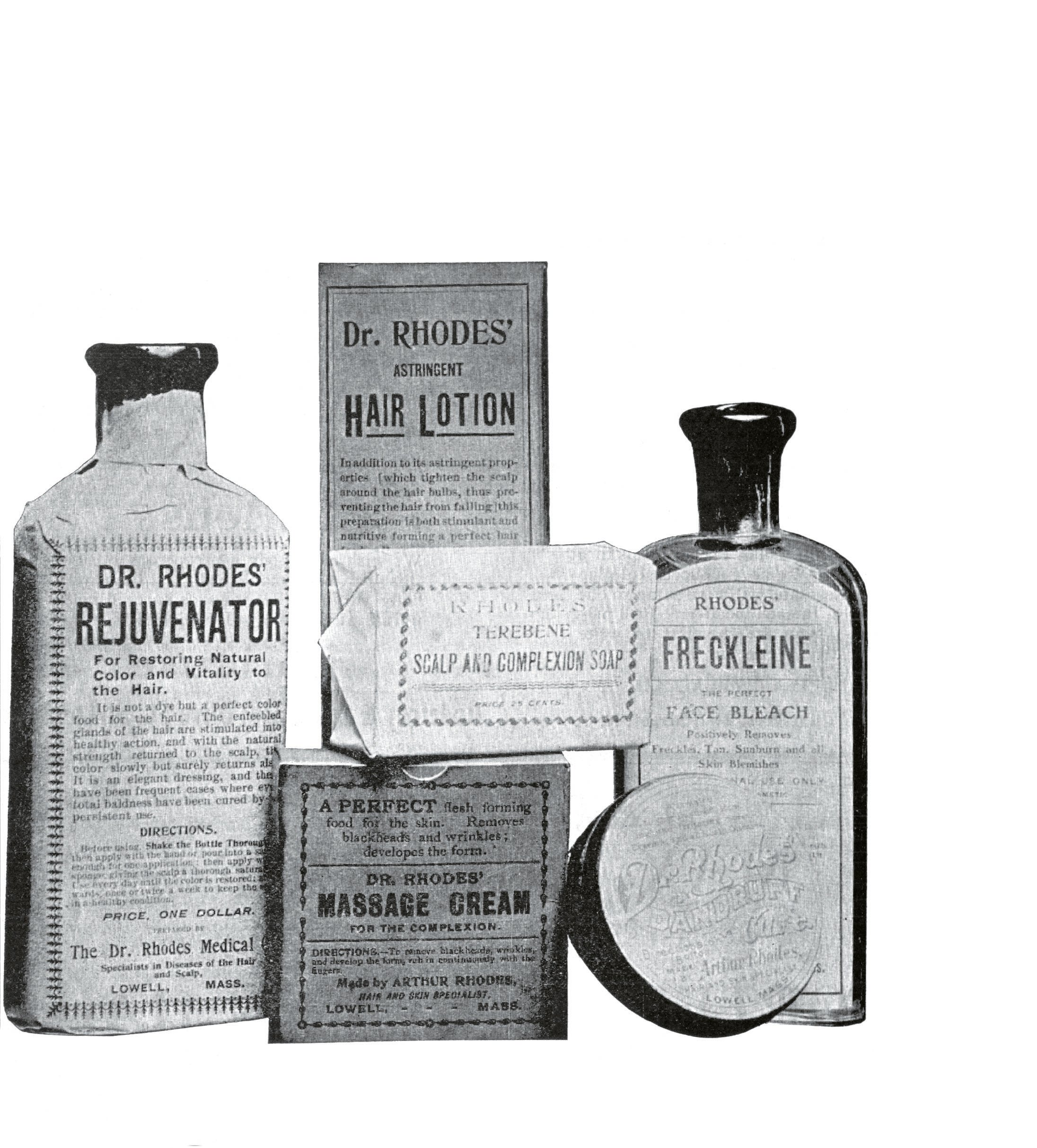 The Dr. Rhodes brand had an entire line of products for sale including Rejuvenator to restore color and vitality to hair, and Freckeline, a face bleach.
