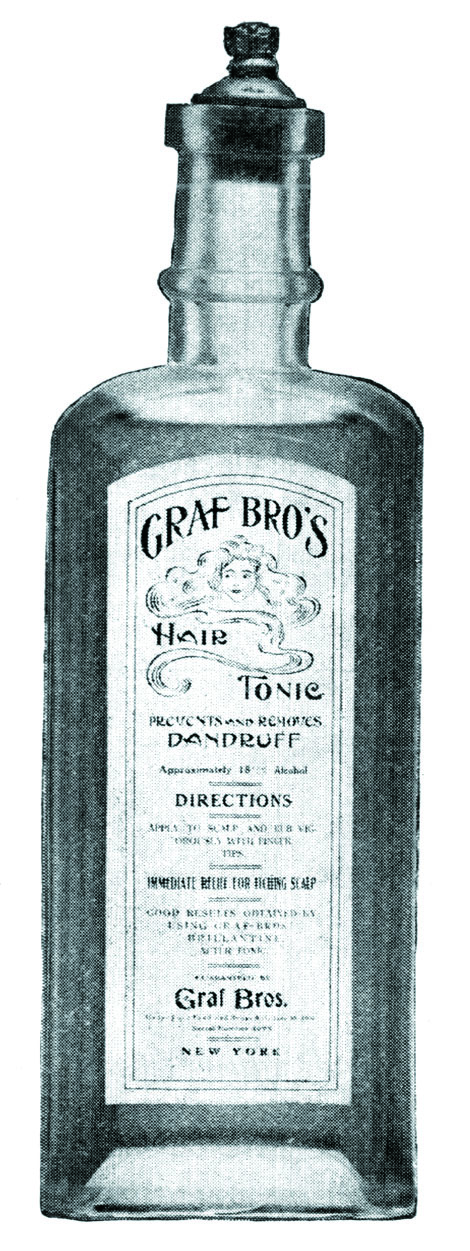 Graf Bros. Hair Tonic was touted as food for the hair and a cure-all for dandruff and other scalp problems.