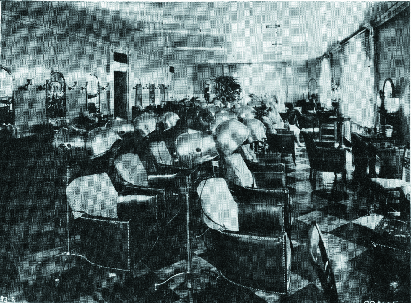 The hair drying room of the Beauty Salon in R.H. Stearns of Boston, can operate at a comfortable temperature all year-long.