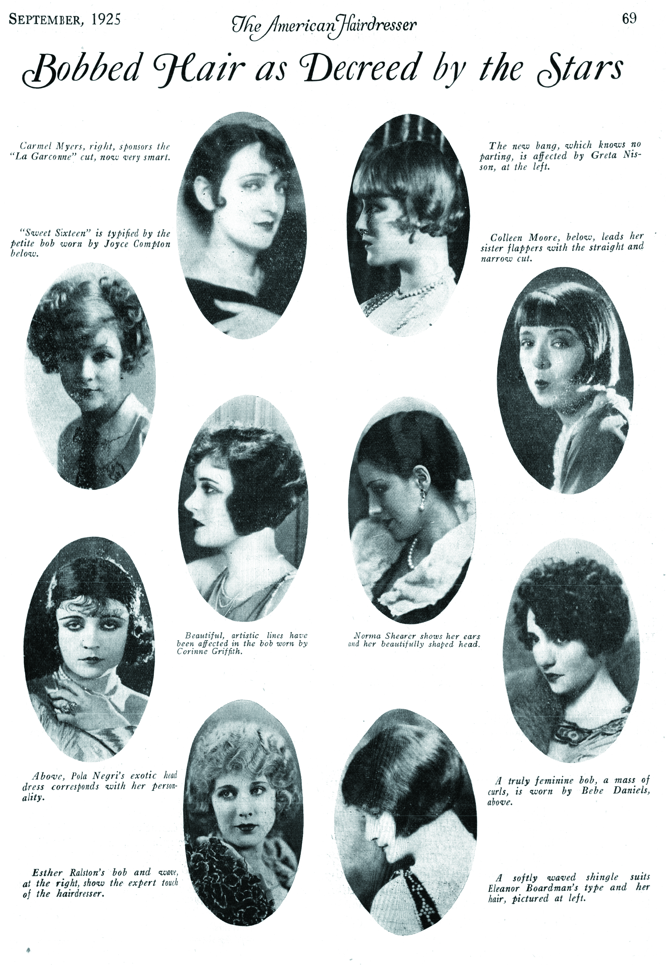 A roundup of various screen stars from our September 1925 issue showing off their take on the bob.