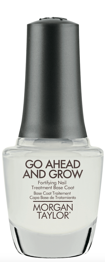 Morgan Taylor Go Ahead  and Grow provides healthy base support for weak and damaged nails with keratin and vitamin E to promote harder, longer and stronger nails.
