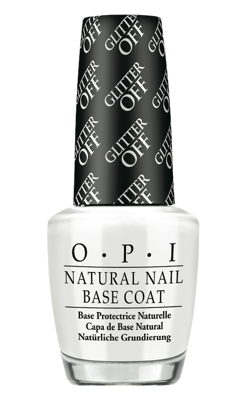 OPI  Glitter Off Natural Nail Base Coat protects the nail from glitter nail polish, then conveniently peels off without the need for acetone or other polish removers.