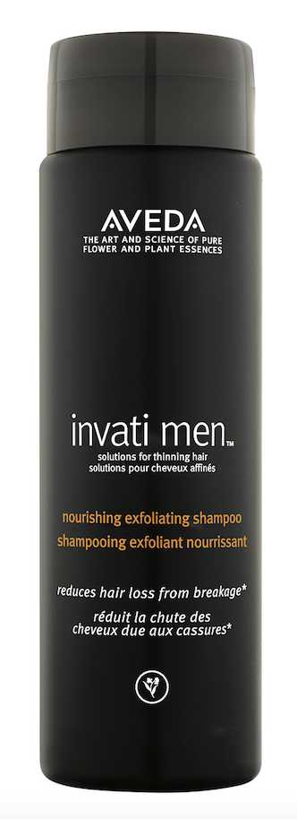 Aveda Invati Men Nourishing Exfoliating Shampoo exfoliates the scalp with refreshing wintergreen-derived salicylic acid, while conditioners strengthen thinning hair.