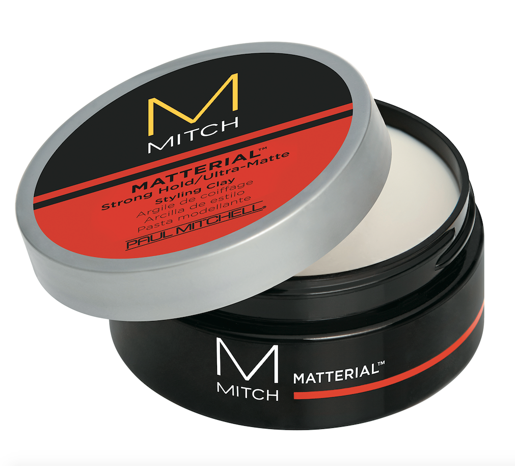 Mitch  Matterial Strong Hold/Ultra-Matte Styling Clay bulks up texture with a dry, ultra-matte finish, and thickening ingredients grip hair and lock it into place.