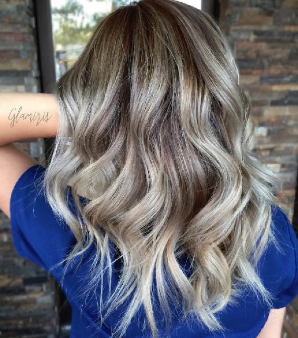 @glamiris creates perfect dimensional ash-pearl tones on Asian hair.