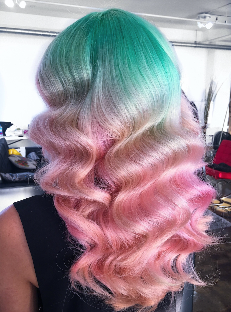@hairsalonm's signature waves with vivid colors.