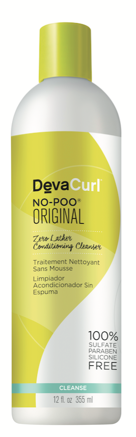 DevaCurl  No-Poo Original Zero Lather Conditioning Cleanser stimulates the scalp with refreshing peppermint oil, and moisturizes curls with a non-lathering, grapeseed-oil formula.