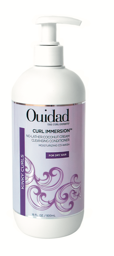 Ouidad  Curl Immersion No-Lather Coconut Cream Cleansing Conditioner is specially formulated for delicate kinky curls—adding shine, softness and manageability with Abyssinian oil and Mafura butter.
