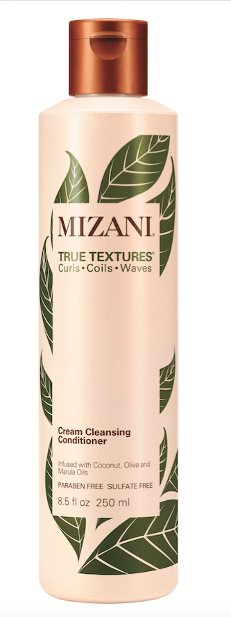 Mizani  True Textures Cream Cleansing Conditioner cleanses and conditions in one step, with a gentle, low-foam formula made with marula, olive and coconut oils.