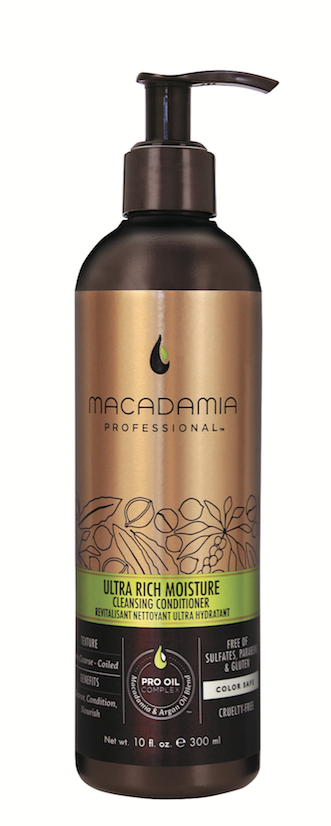 Macadamia  Professional  Ultra Rich Moisture Cleansing Conditioner  provides foamless cleansing and deep conditioning with a blend of nourishing macadamia, argan and sweet almond oils.