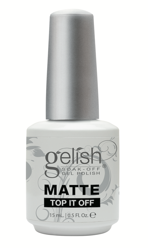 Gelish  Matte Top It Off seals Gelish Soak-Off Gel Polish to a plush, matte-satin finish that won't chip or peel. Cures in 30 seconds under LED light and in two minutes under UV light.