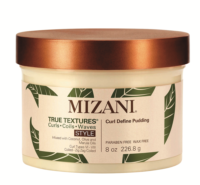 MIZANI True Textures Curl Define Pudding defines and elongates z-pattern curls without a crunchy texture.