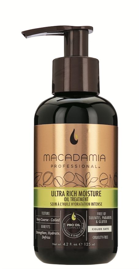 Macadamia Professional  Ultra Rich Moisture Oil Treatment  provides z-pattern curls with a rich dose of hydration, smoothing split ends and fighting frizz.