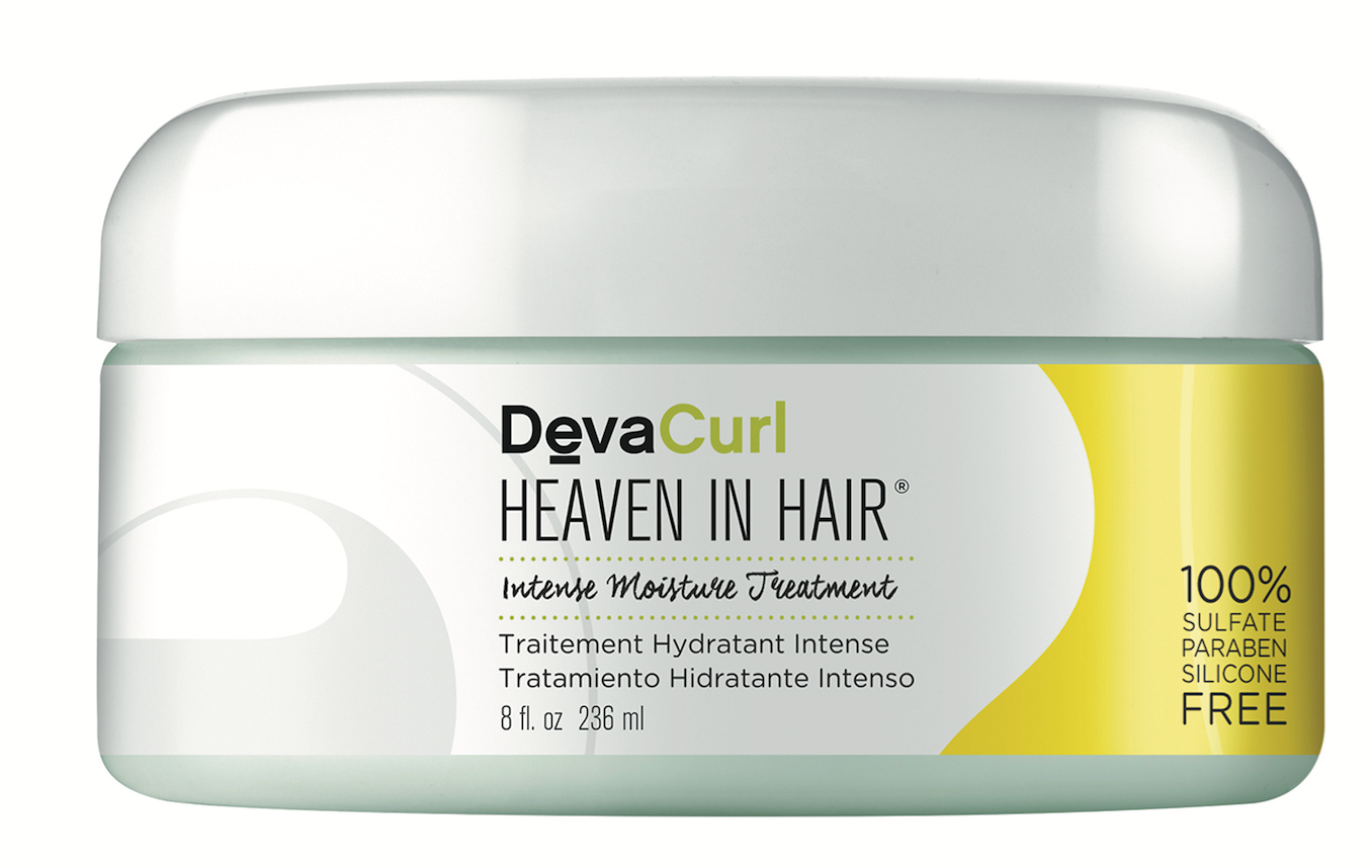 DevaCurl  Heaven In Hair Intense Moisture Treatment drenches dehydrated curls with rich cupuacu, murumuru and cacao butters, giving hair a silky texture.