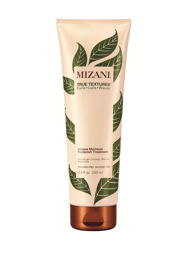 Mizani  True Textures Intense Moisture Replenish Treatment revitalizes curls with coconut, olive and marula oils. The silicone-free formula intensifies kinky curls, giving them a soft texture.