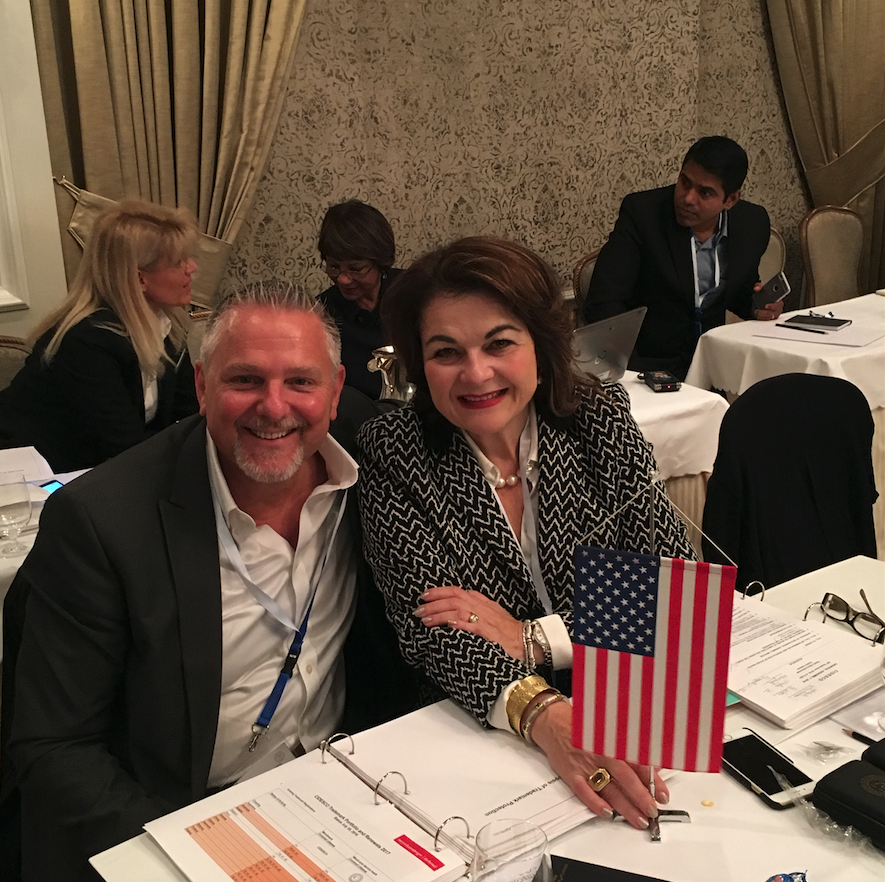 Paul Dykstra, CEO of Cosmetologists Chicago and American Association for Esthetics and Lydia Sarfati, Chair of CIDESCO Section USA