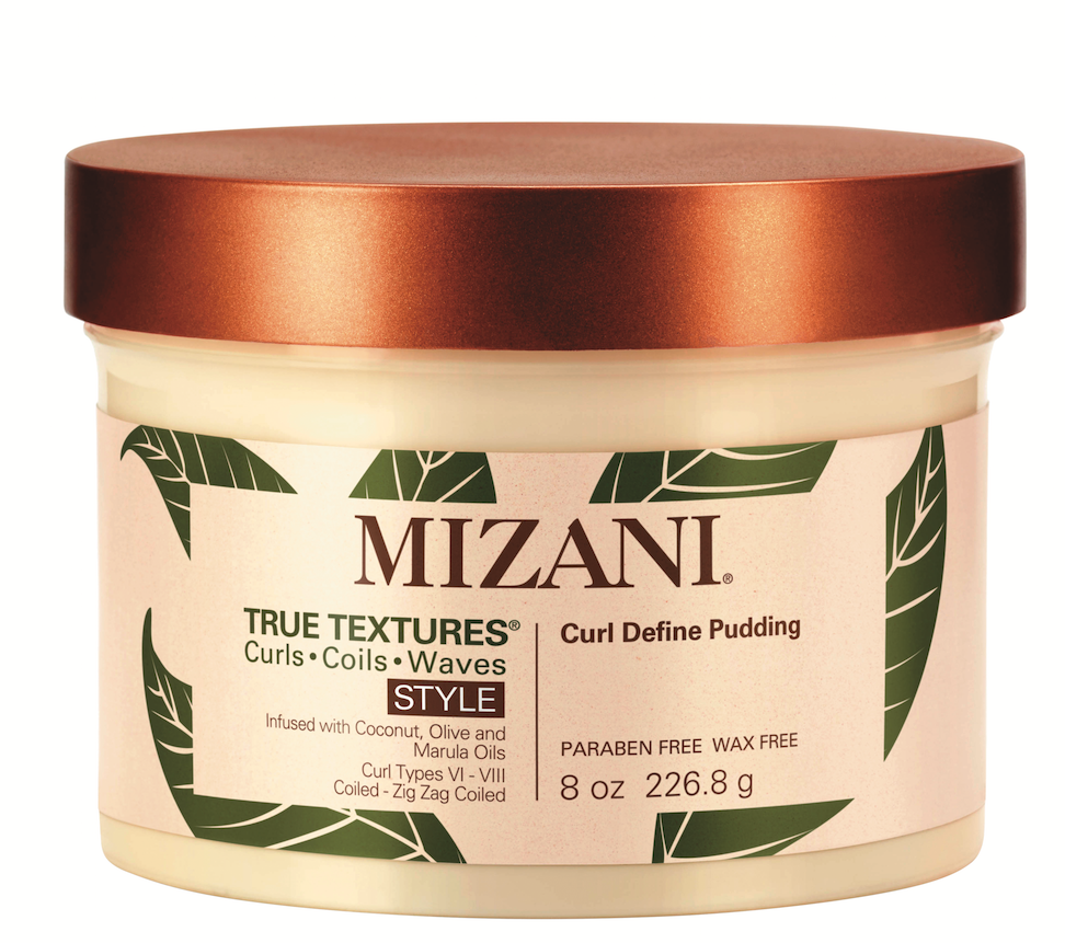 Mizani True Textures Curl Define Pudding  helps loosen up extremely tight coils by hydrating the curls with coconut, olive and marula oils.