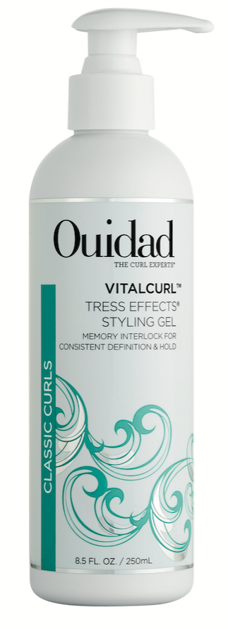 Ouidad VitalCurl Tress Effects Styling Gel is water-soluble and moisturizing, so it's a great layering gel for curl types 4 and 5.