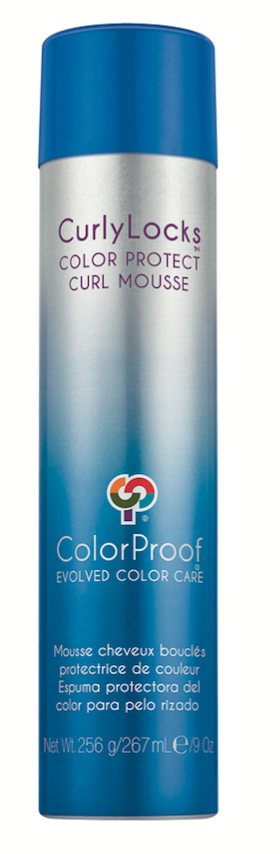 ColorProof Curly Locks Color Protect Curl Mousse  works beautifully on curl types 1 through 3, building volume in limper curls and waves.