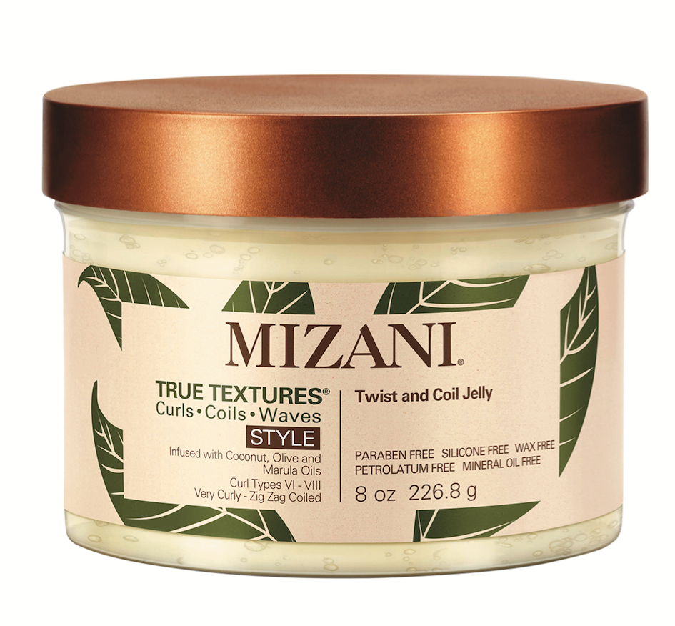 Mizani True Textures Twist and Coil Jelly gives curl types 7 and 8 enhanced definition and a big douse of hydration—with coconut, olive and marula oils.