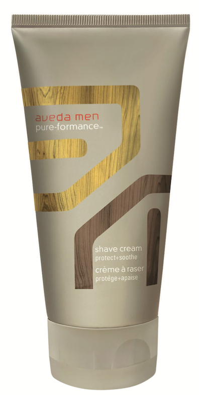 Aveda Men  Pure-Formance Shave Cream preps the skin for a close, comfortable shave and is infused with Aveda's Pure-Fume aroma of spearmint, vetiver and lavender.