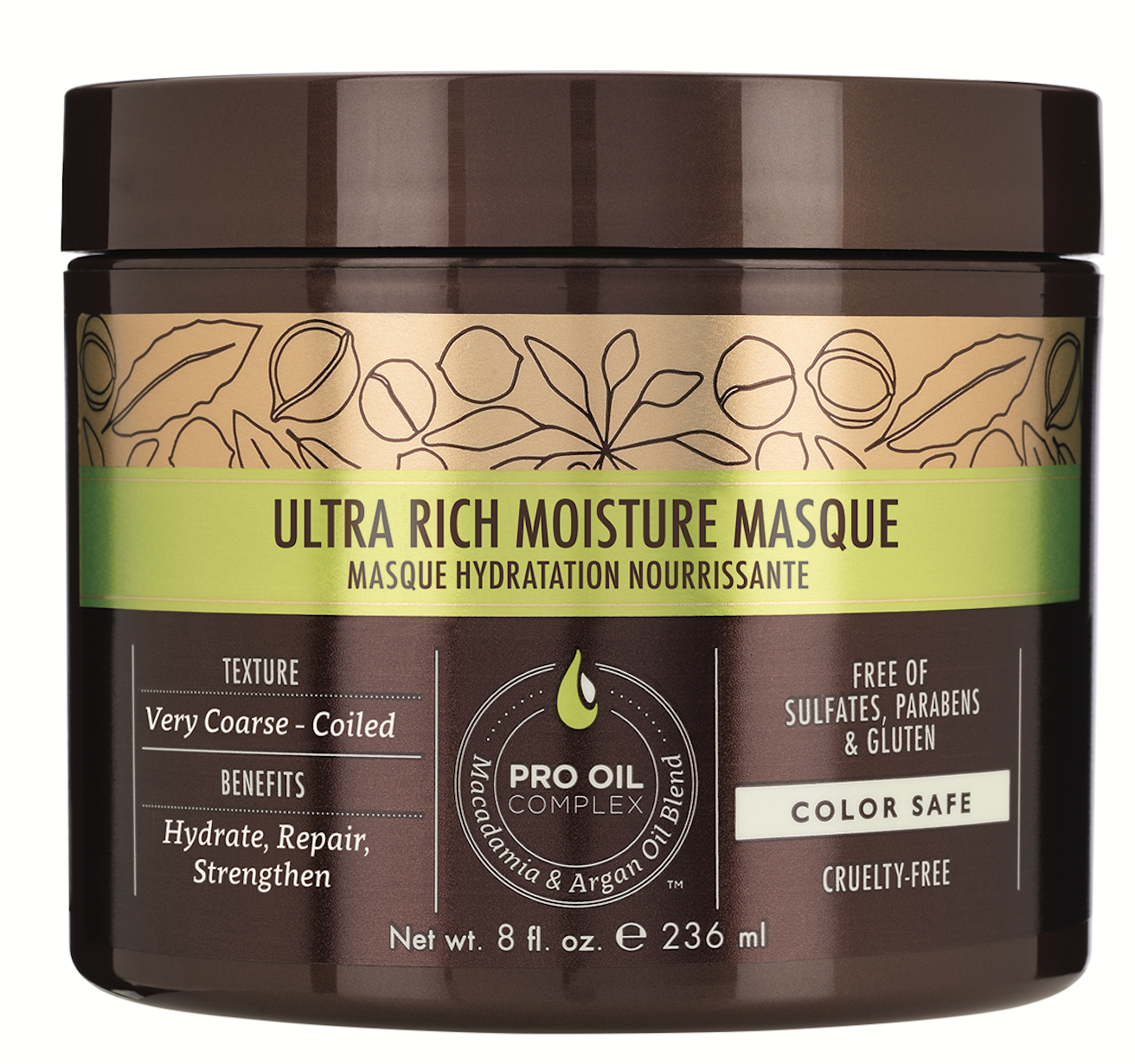 Formulated with shea butter and mongongo, macadamia and argan oils, Macadamia Professional Ultra Rich Moisture Masque infuses curls with intense hydration.