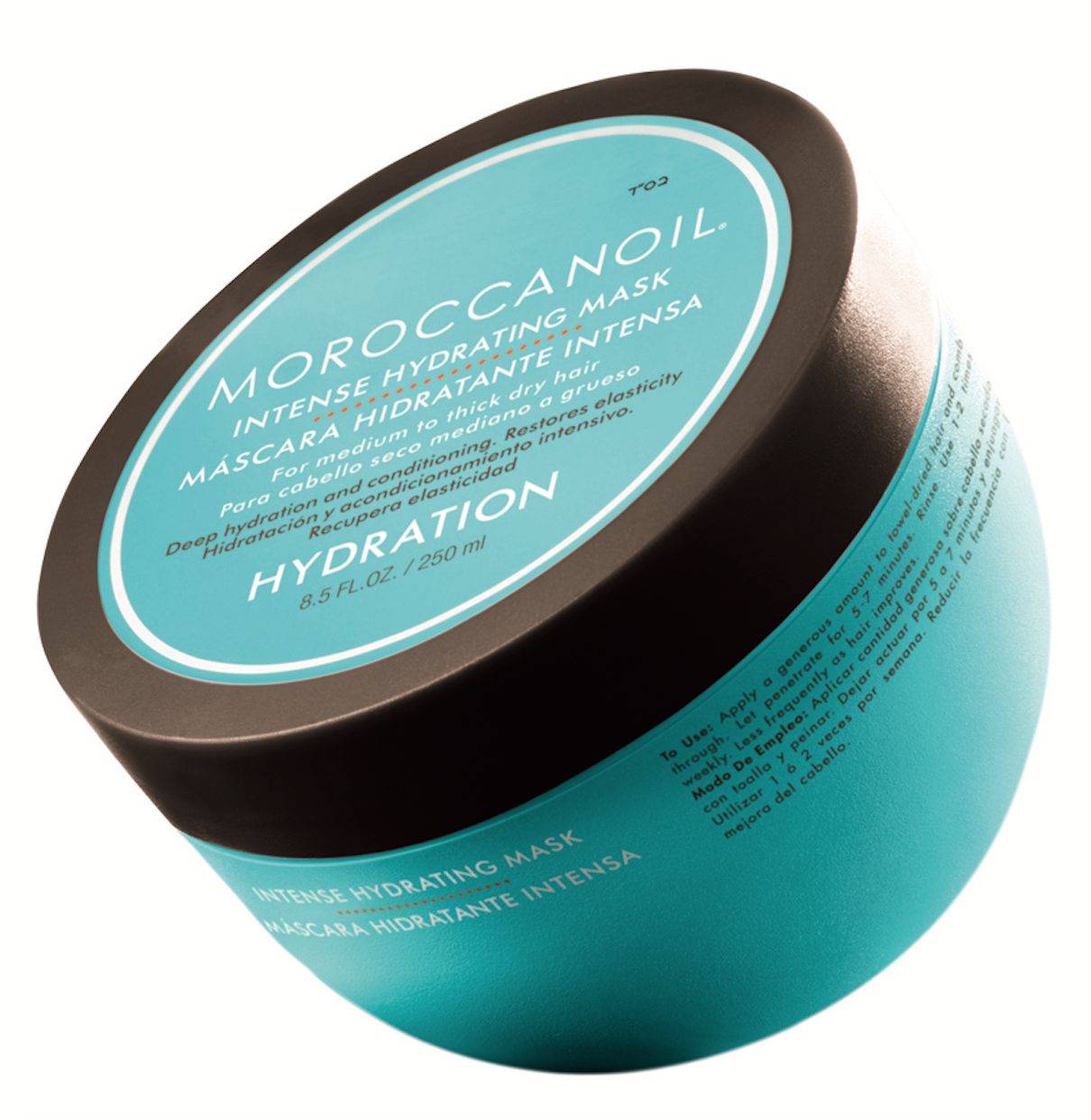 Moroccanoil  Intense Hydrating Mask conditions and dramatically improves hair texture, elasticity and shine with antioxidant-rich argan oil.