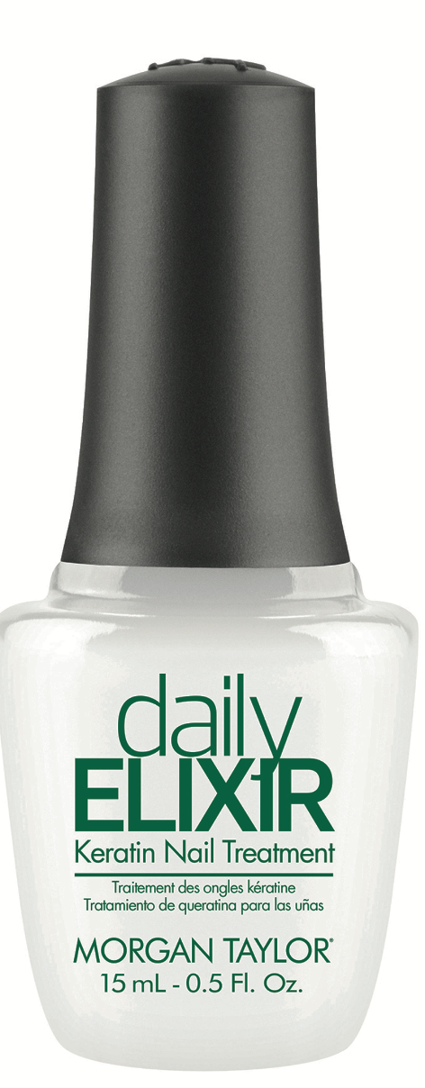 Morgan Taylor dailyELIXIR Keratin Nail Treatment penetrates the nail surface, bonding with natural  nail protein to restore structure and strength.