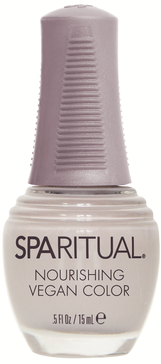 SpaRitual Nourishing Vegan Color in Inner Peace helps nails grow longer, extends manicures, and eliminates the need for a basecoat and topcoat