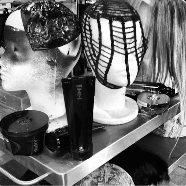 I love this shot from an Oribe Hair Care event in 2012. The masks, products and wigs were waiting to be brought to life for our masquerade-themed show.