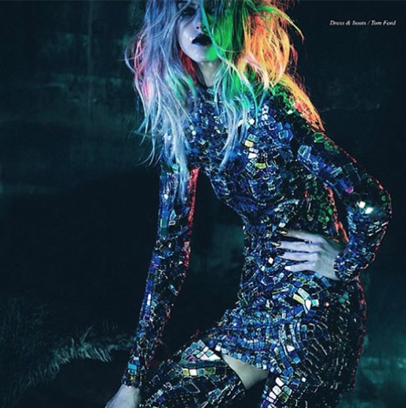 The model in this Tom Ford ad was decked out in bold jewels from the neck down, so I wanted to make sure the hair could share share some of the spotlight. Rainbow highlights and extreme texture finished off this high-fashion look for Schön! Magazine.