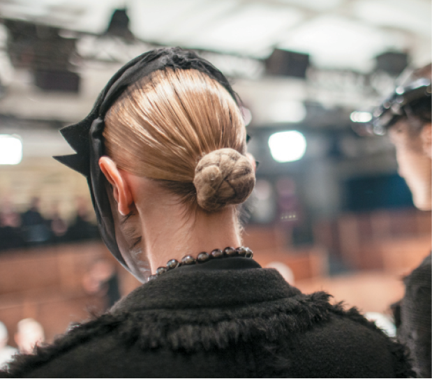 Lead Hairstylist Jimmy Paul for Thom Browne fall/winter 2015; Photography: Jane Houle
